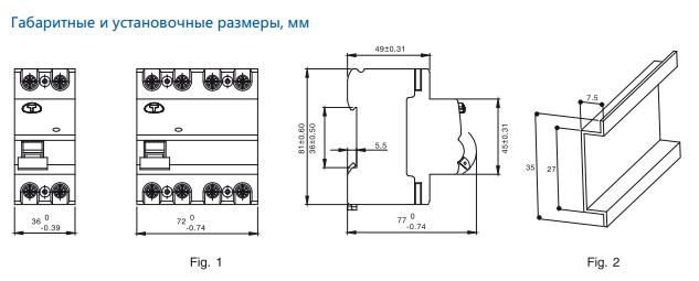 габаритные установочные размеры Устройства защитного отключения серии ADB1L-63 2P